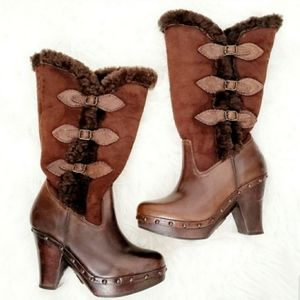 Frye Brown Leather Shearling Wooden Heeled Boots